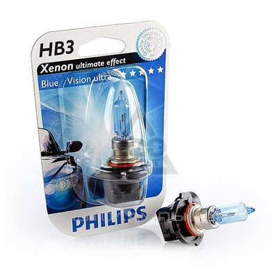 PHILIPS Лампа автомобильная галогенная HB3 9005 12V 65W Blue Vision Ultra, в блистере, 1 шт.