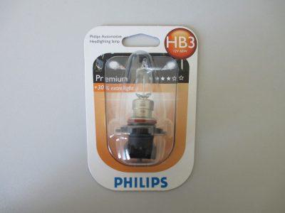 PHILIPS Лампа автомобильная галогенная HB3 65W +30% света P20d Premium, в блистере, 1 шт.