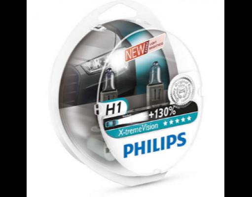 PHILIPS Лампа автомобильная галогенная H1 12258 XV 12V 55W S2 X-treme +130%  в блистере, 2 шт.
