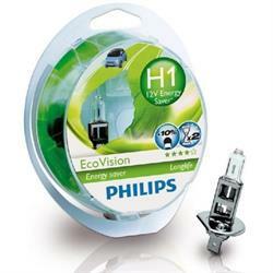 PHILIPS Лампа автомобильная галогенная H1 12V 55W Eco Vision в блистере, 2 шт.