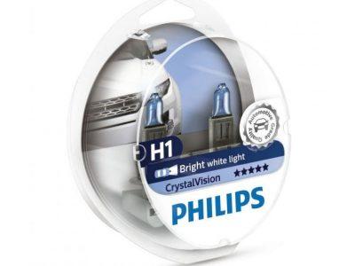 PHILIPS Лампа автомобильная галогенная H1 12V 55W P14,5s 4300K Crystal Vision в блистере, 2 шт.