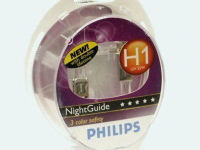 PHILIPS Лампа автомобильная галогенная H1 12V 55W Night Guide в блистере, 2 шт.