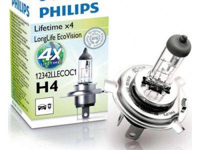 PHILIPS Лампа автомобильная галогенная H4 12V 55W LongLife EcoVision, 1 шт.