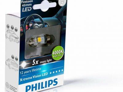 PHILIPS Лампа автомобильная галогенная  T10,5X43 12V 1W X-Treme LED C5W Festoon, 1 шт.