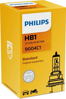 PHILIPS Лампа автомобильная галогенная HB1 12V 65/45W P29t Vision, 1 шт.