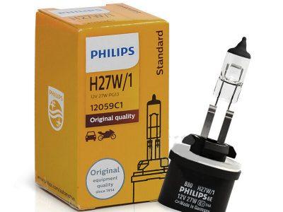 PHILIPS Лампа автомобильная галогенная противотуманной фары H27W/1 12V 27W Standard, 1 шт.