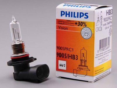 PHILIPS Лампа автомобильная галогенная HB3 12V 65W P20d Premium Vision +30% света, 1 шт.