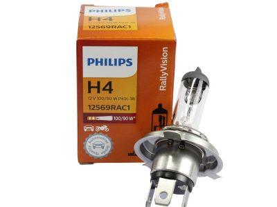 PHILIPS Лампа автомобильная галогенная H4 12V 100/90W Rally For race only, 1 шт.