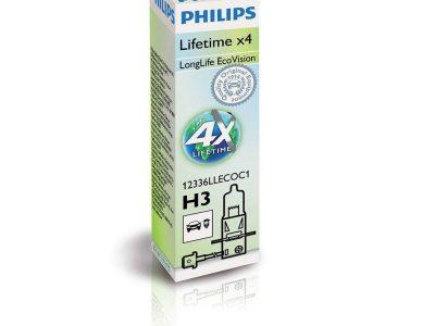 PHILIPS Лампа автомобильная галогенная H3 12V 55W Long Life Eco Vision, 1 шт.