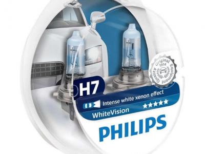 PHILIPS Лампа автомобильная галогенная H7 12V- 55W (белый свет) White Vision +W5W 12V-5W WHV, 2шт