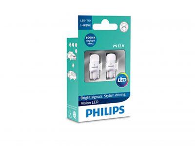 PHILIPS Лампа автомобильная светодиодная W5W 12V-LED 1,0W 6000K Ultinon LED T10, 2шт