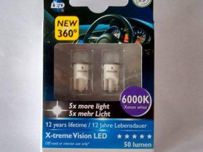 PHILIPS Лампа автомобильная светодиодная W5W 12V-LED 1,0W  6000K X-tremeVision (360) WBT10, 2шт