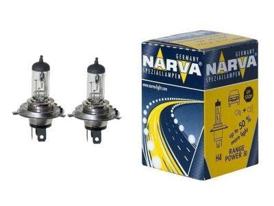 NARVA Лампа автомобильная галогенная H4 P43t-38+50% RANGE POWER 12V, в блистере