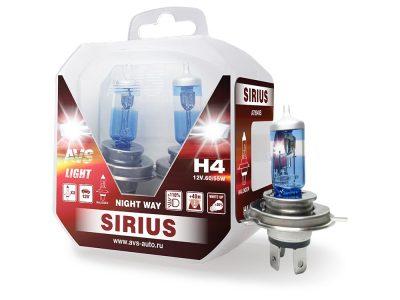 AVS Лампа автомобильная галогенная H4 SIRIUS NIGHT WAY 12V.60/55W Plastic box, 2шт