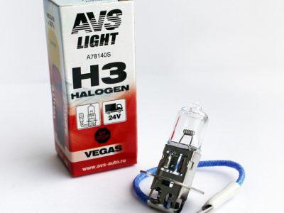 AVS Лампа автомобильная галогенная H3 24V 70W Vegas, 1 шт