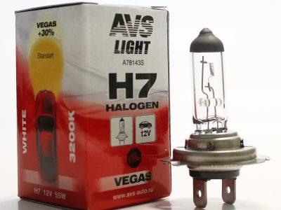 AVS Лампа автомобильная галогенная H7 12V 55W Vegas, 1 шт Vegas H7