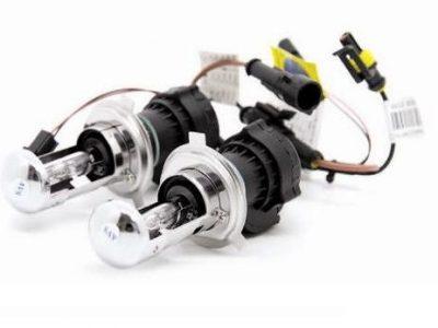 AVS Лампы би-ксенон H4 5000K+ 4300K + комплект проводов KET, 2 шт