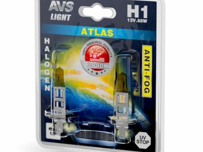 AVS Лампа галогенная ATLAS ANTI-FOG / желтый H1.12V.55W блистер, 2 шт.