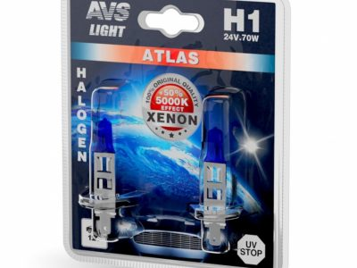 AVS Лампа галогенная ATLAS /5000К/ H1.24V.70W блистер, 2 шт.