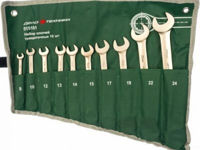 ДЕЛО ТЕХНИКИ Набор ключей комбинированных трещоточных 10пр 8-24мм планшет тетроновый