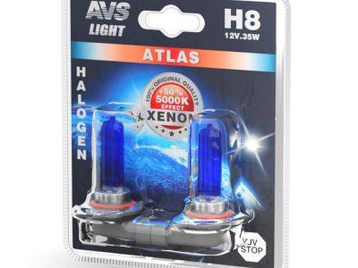 AVS Лампа автомобильная галогенная H8 12V.35W ATLAS 5000К, в блистере 2шт ATLAS H8
