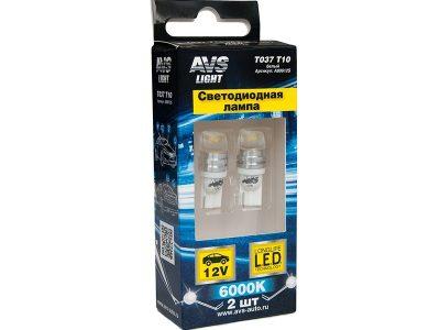 AVS Лампа автомобильная светодиодная T037, 1,5W усечённая, 2 шт