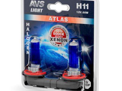 AVS Лампа галогенная ATLAS /5000К/ H11.12V.55W блистер, 2 шт