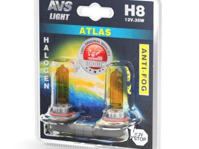 AVS Лампа галогенная ATLAS ANTI-FOG / желтый H8.12V.35W блистер, 2 шт