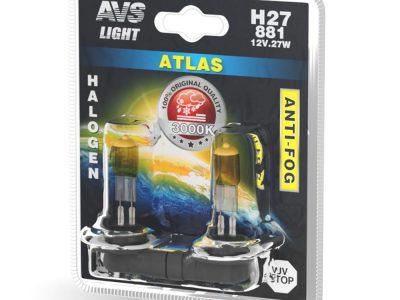 AVS Лампа галогенная ATLAS ANTI-FOG / желтый H27/881 12V.27W блистер, 2 шт
