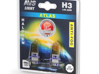 AVS Лампа галогенная ATLAS ANTI-FOG / желтый H3.12V.55W блистер, 2 шт
