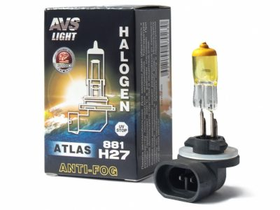 AVS Лампа галогенная ATLAS ANTI-FOG / желтый H27/881 12V.27W коробка, 1 шт
