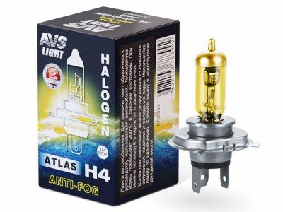 AVS Лампа галогенная ATLAS ANTI-FOG / H4.12V.60/55W коробка, 1 шт